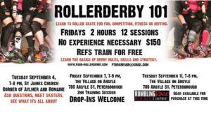 Peterborough Area Roller Derby 2018 Roller Derby 101 dates