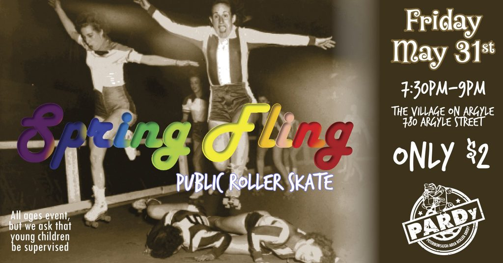 vintage black and white photo of two women in roller skates jumping over two figures lying on banked track.  Advertising public skate Friday may 31 7:30 - 9pm. 2$ admission.