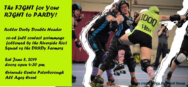 rollerderby players in full contact.  photo credit Jackie Helliwell Shoup.